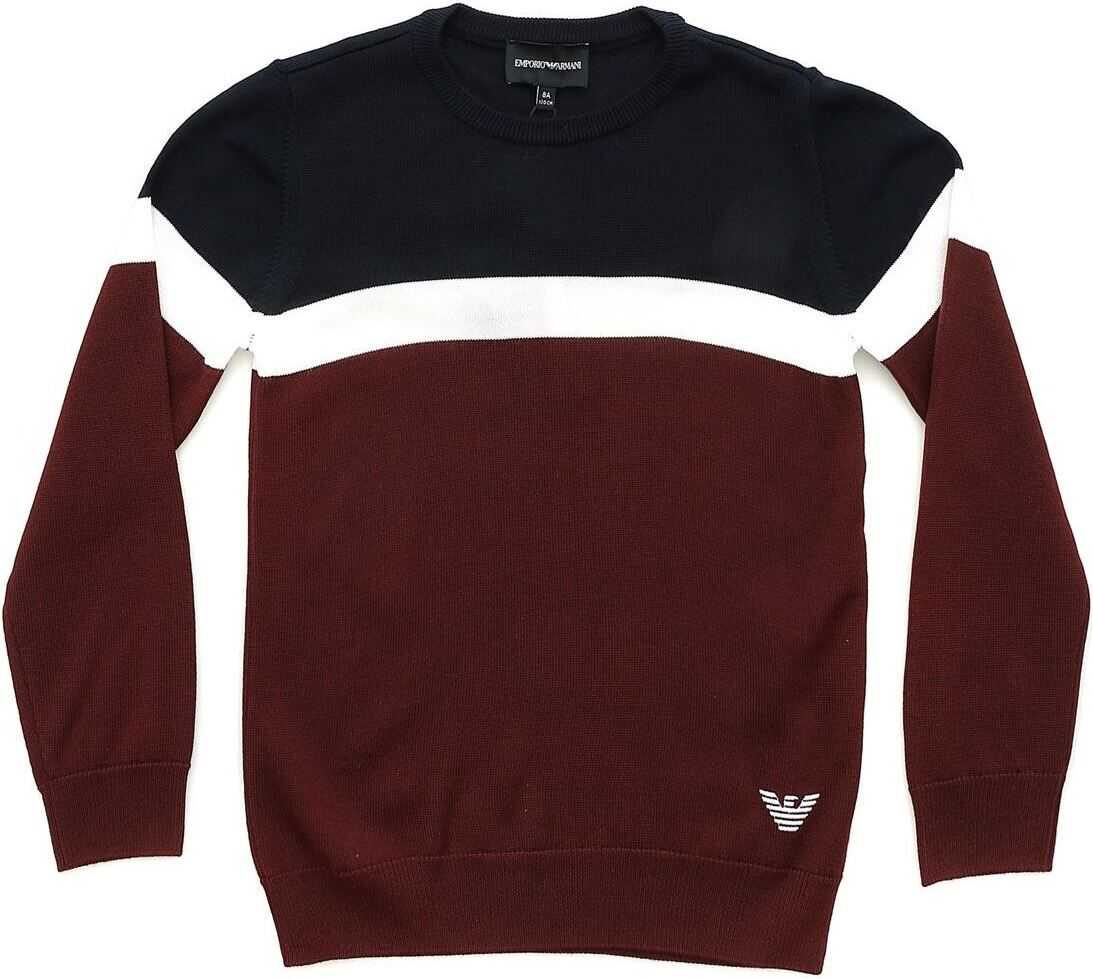 Burgundy Blue And White Crew-Neck Pullover thumbnail