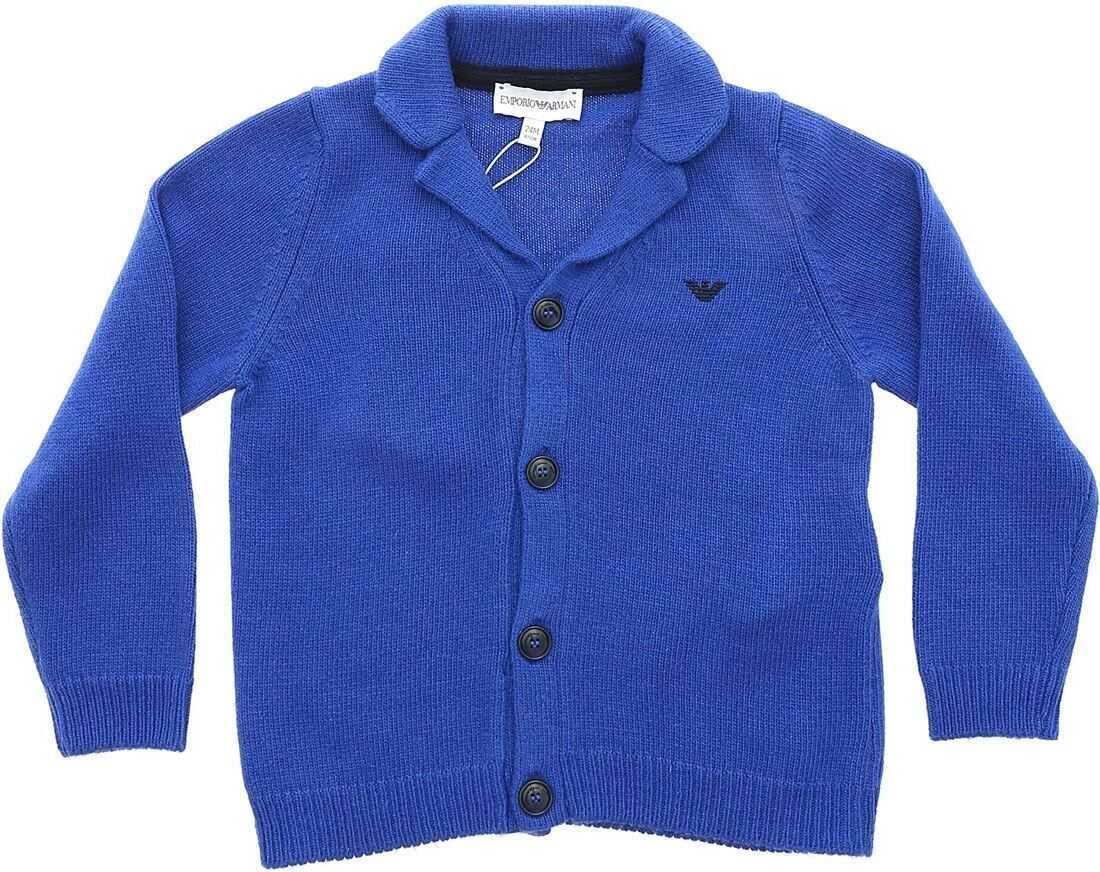 Electric Blue Cardigan With Logo Embroidery thumbnail