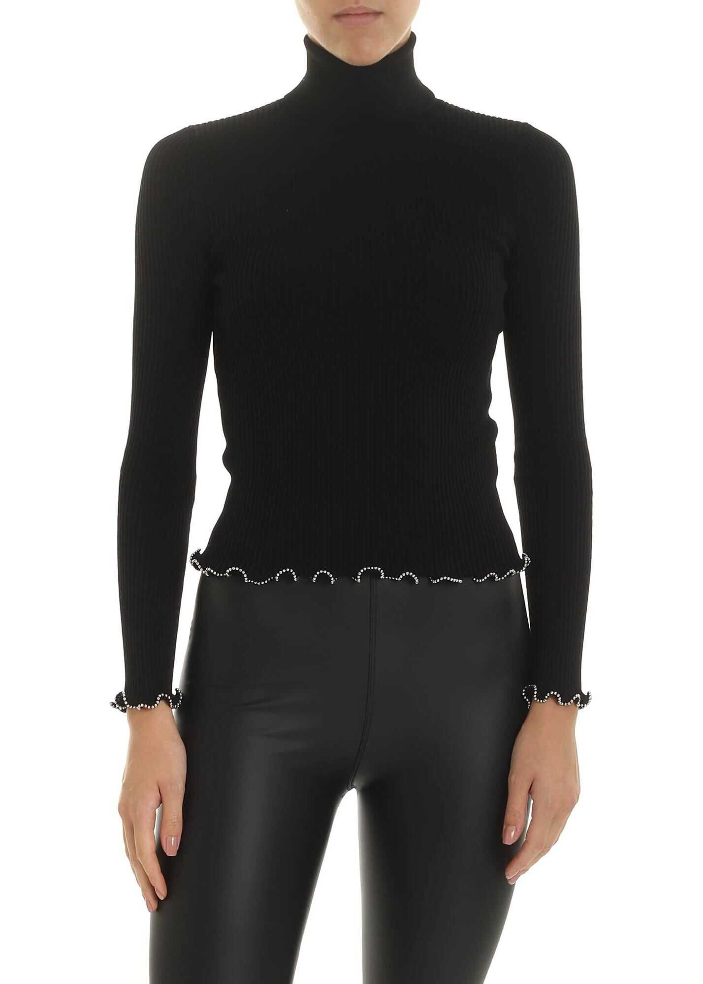 Alexander Wang Black Ribbed Turtleneck With Silver Beads Black