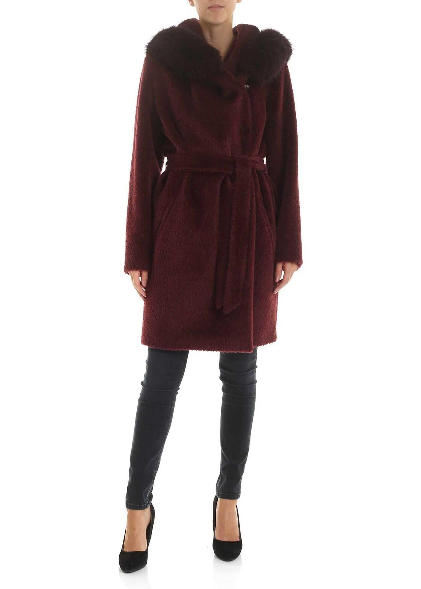 Max Mara Studio Osmio Coat In Wine Color Red
