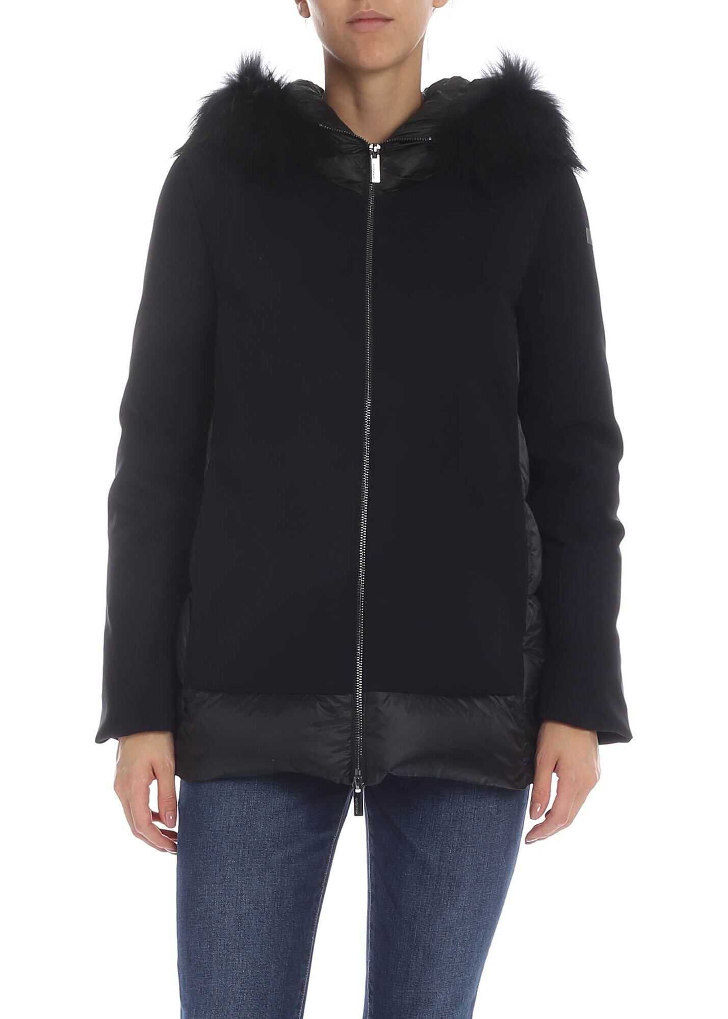 Zara Winter Hybrid Down Jacket In Black thumbnail