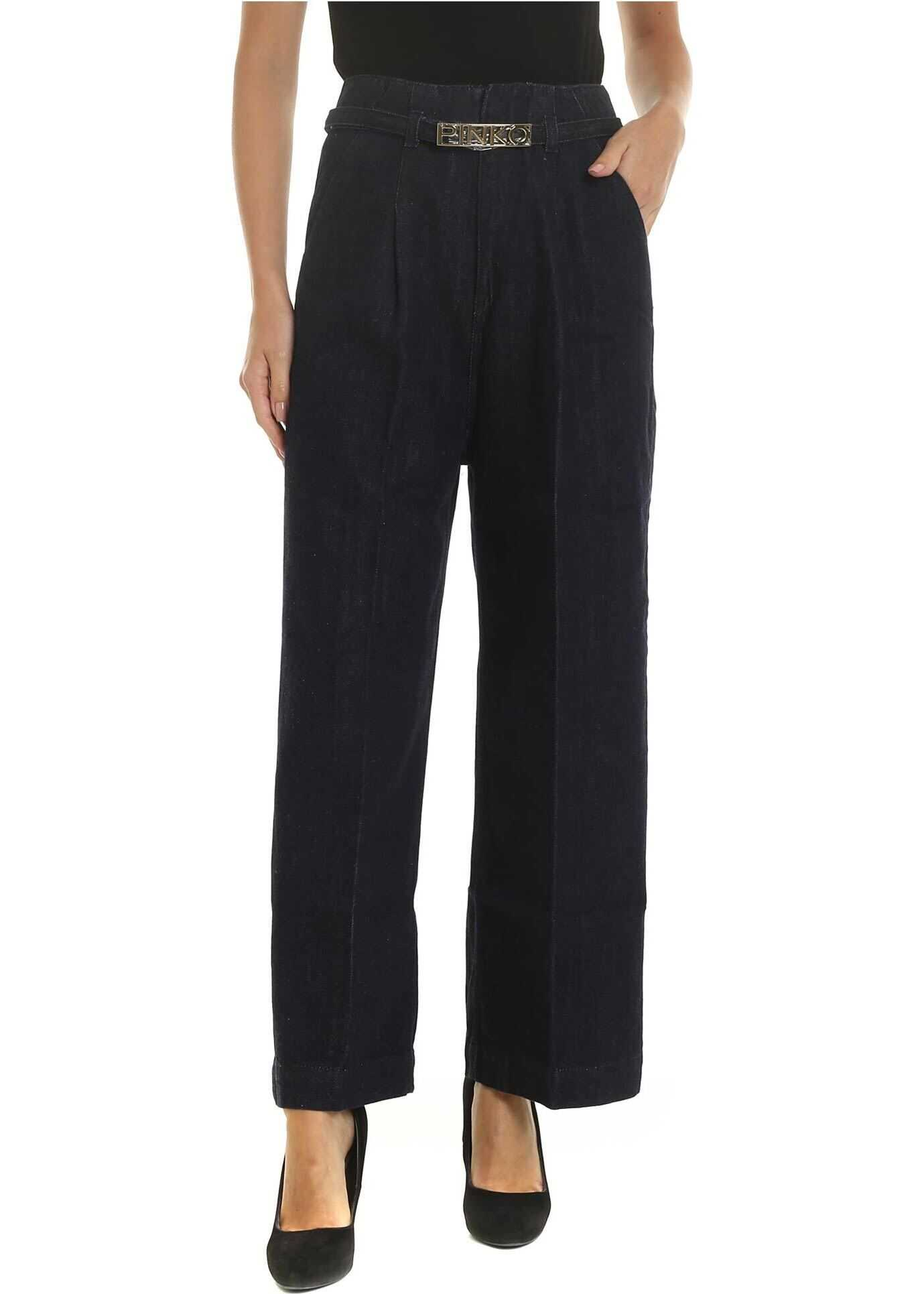 Paige Palazzo Jeans In Dark Blue thumbnail