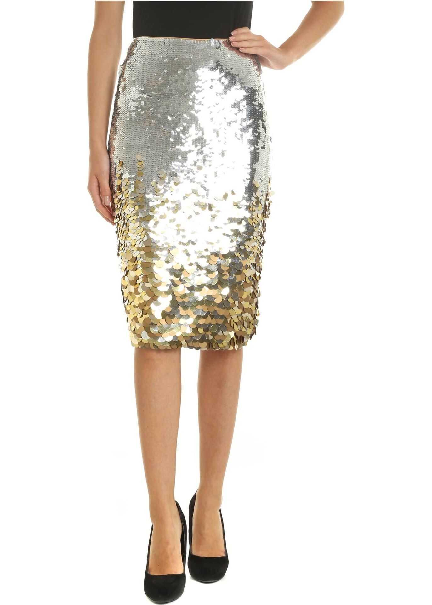 Pinko Orion Skirt In Silver And Golden Sequins Gold