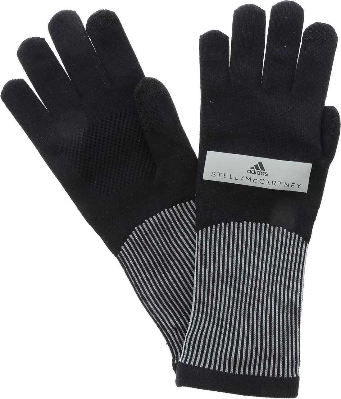 adidas by Stella McCartney Run Gloves In Black And Gray Black