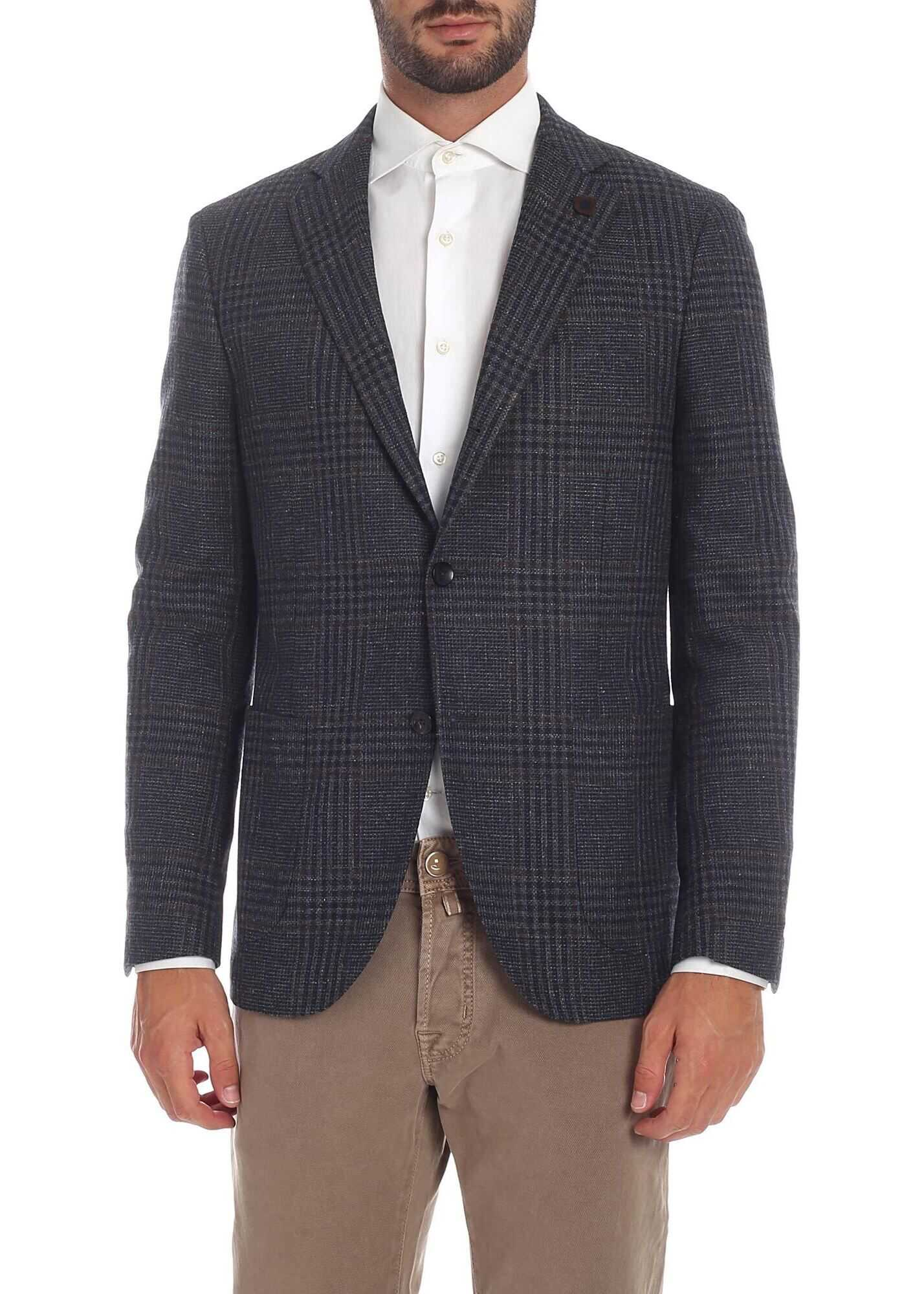 Lardini Checkered Jacket In Blue And Brown Blue