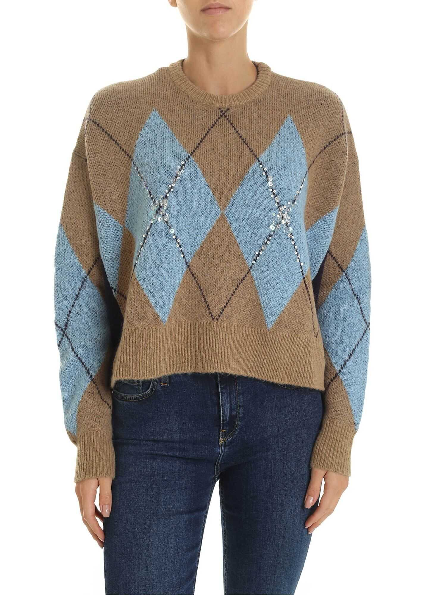 Mesopotamia Pullover In Beige And Light Blue thumbnail