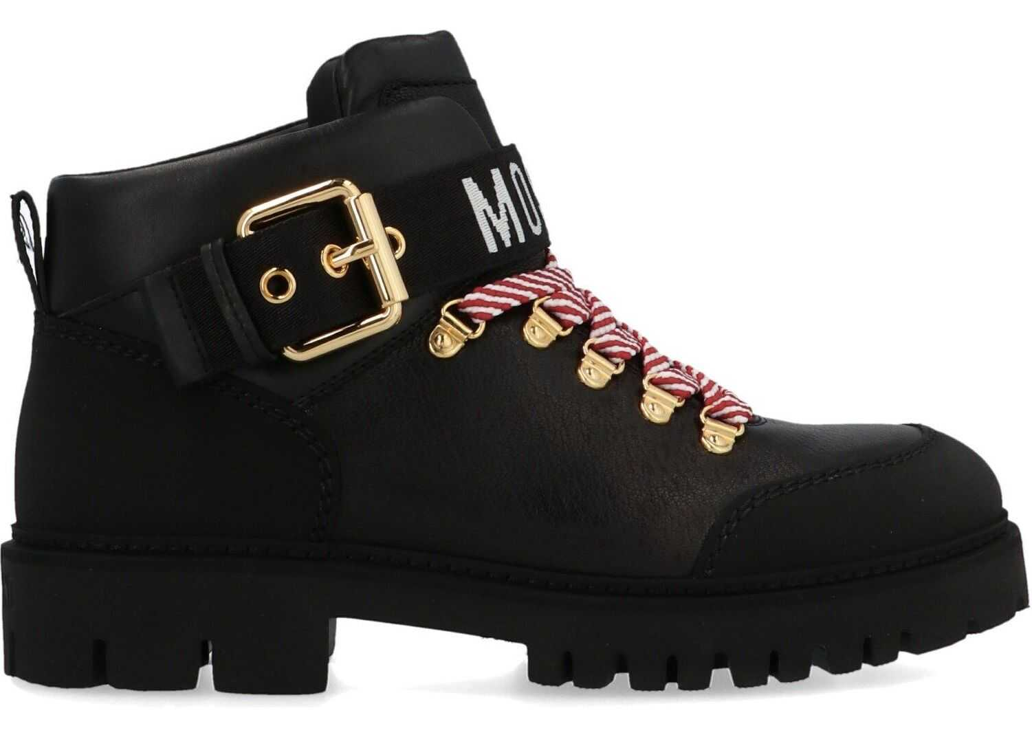 Moschino Leather Ankle Boots BLACK