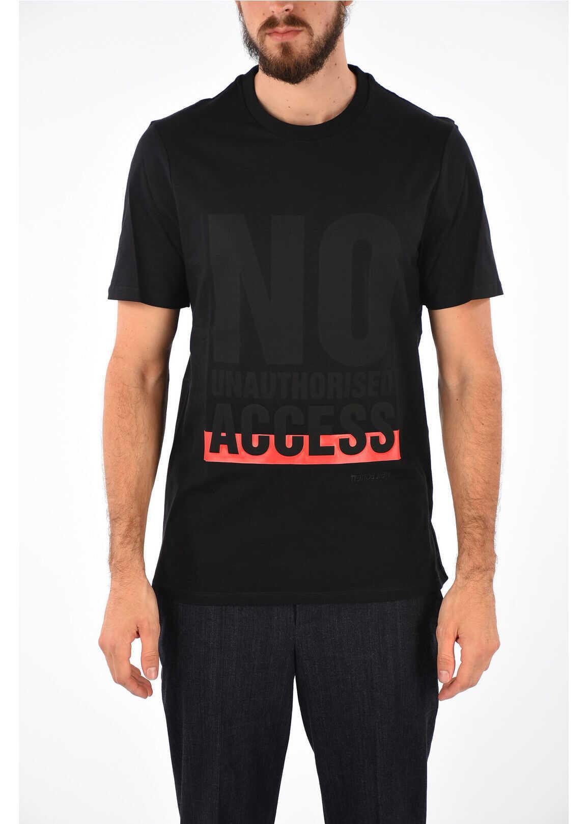 Crewneck T-shirt with NO UNAUTHORISED ACESS Print thumbnail