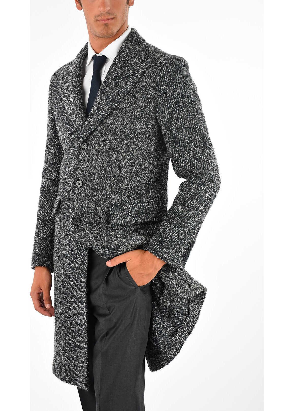 CORNELIANI CC COLLECTION Single Breasted coat BLACK & WHITE