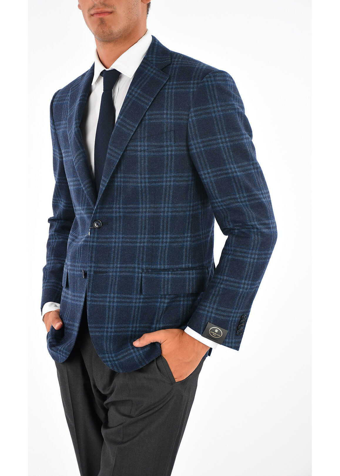 CORNELIANI Checked Blazer BLUE