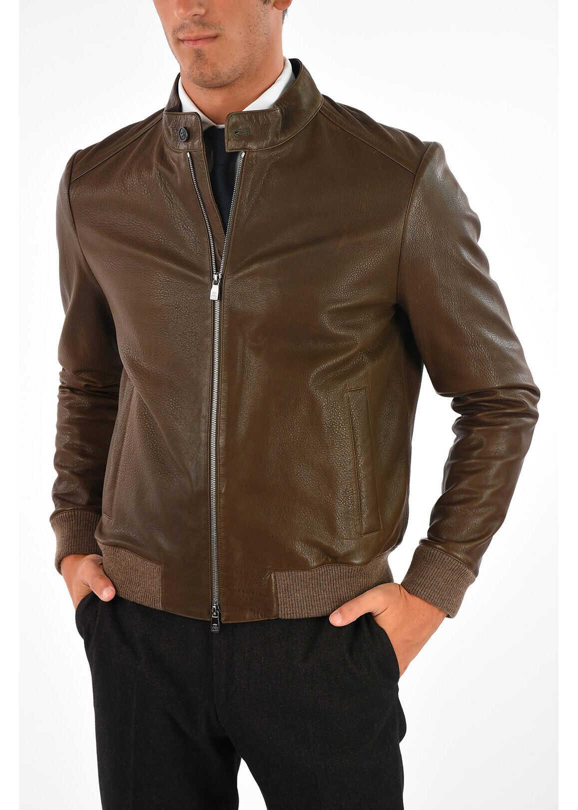 CORNELIANI ID Leather Jacket BROWN