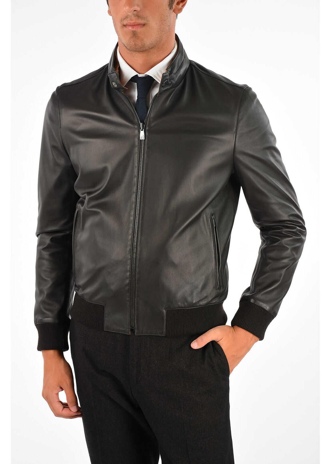 CORNELIANI ID Reversible Leather Jacket BROWN