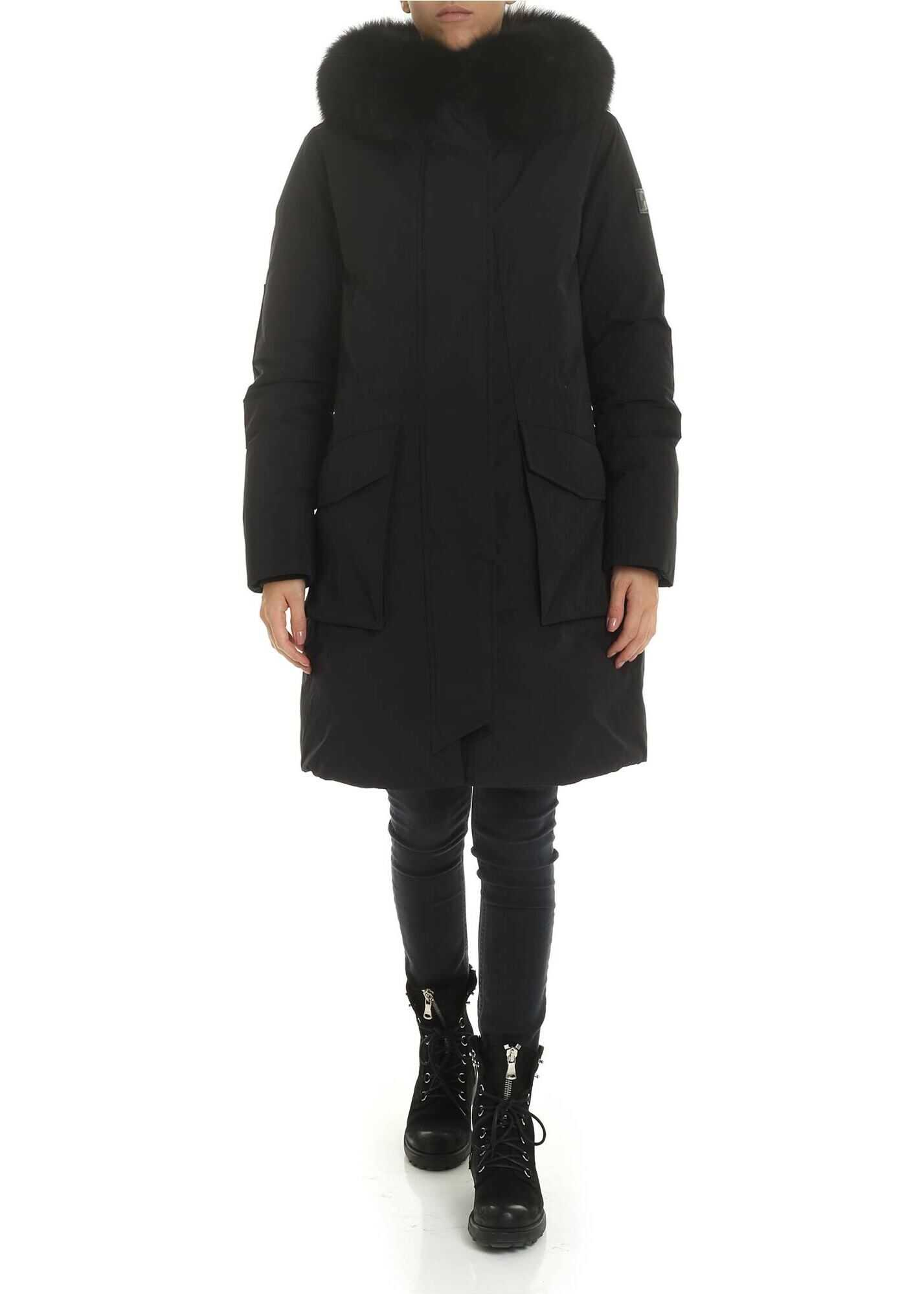 Woolrich Military Parka Down Jacket In Black Black