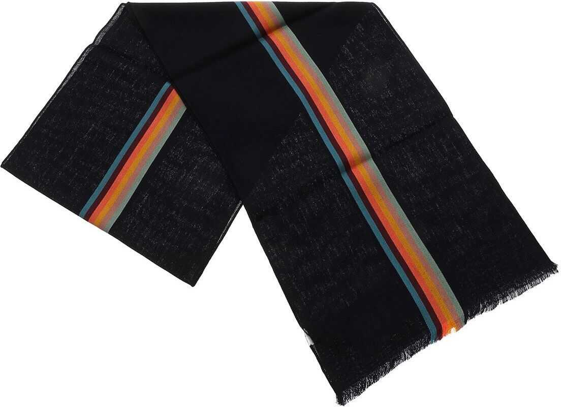 Paul Smith Central Stripe Scarf In Blue Blue