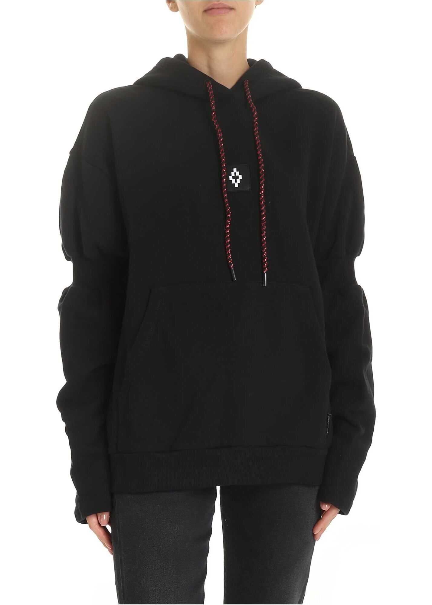 Sweatshirt In Black With Red Lamé Drawstring thumbnail