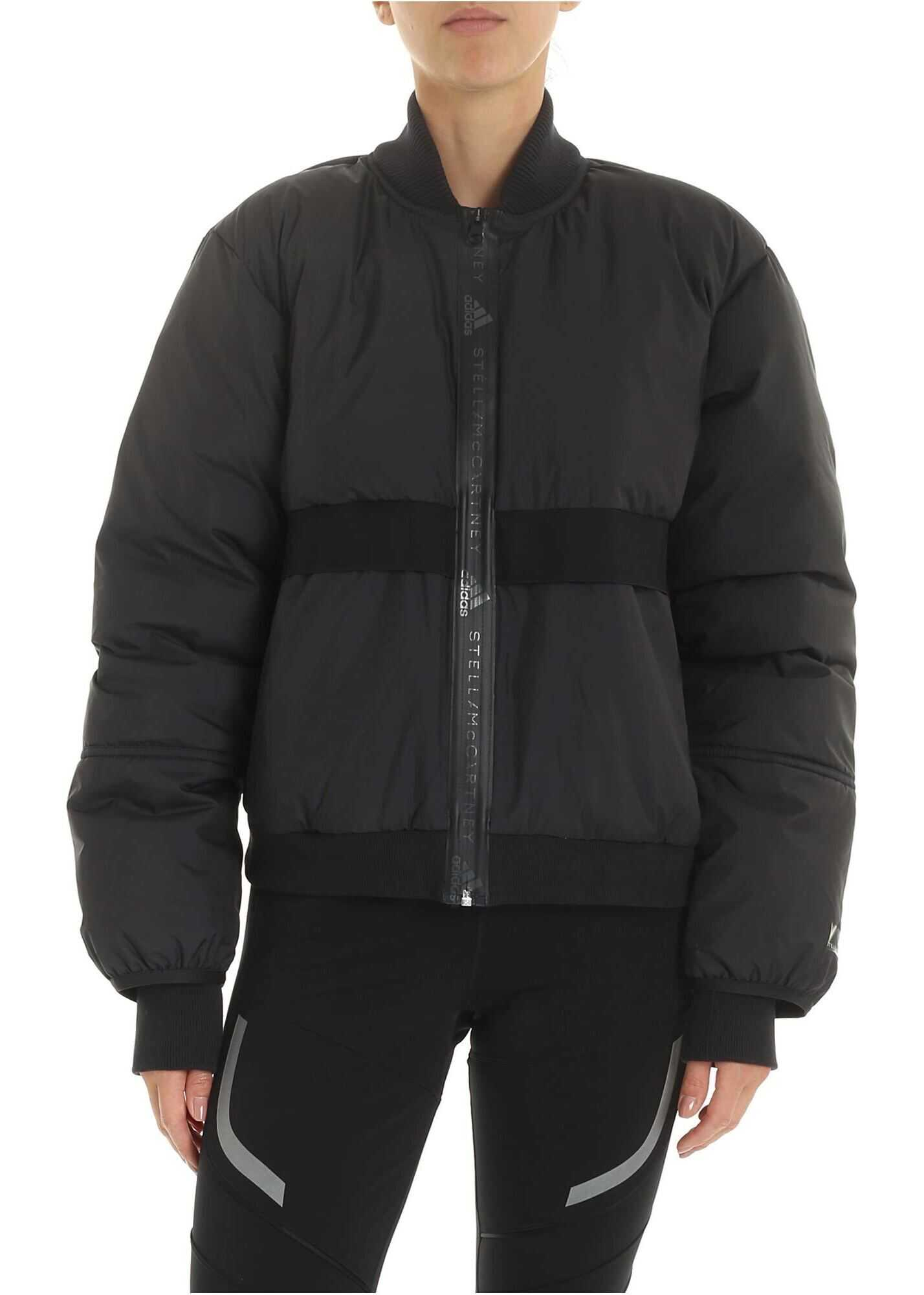 Padded Bomber Down Jacket In Black thumbnail