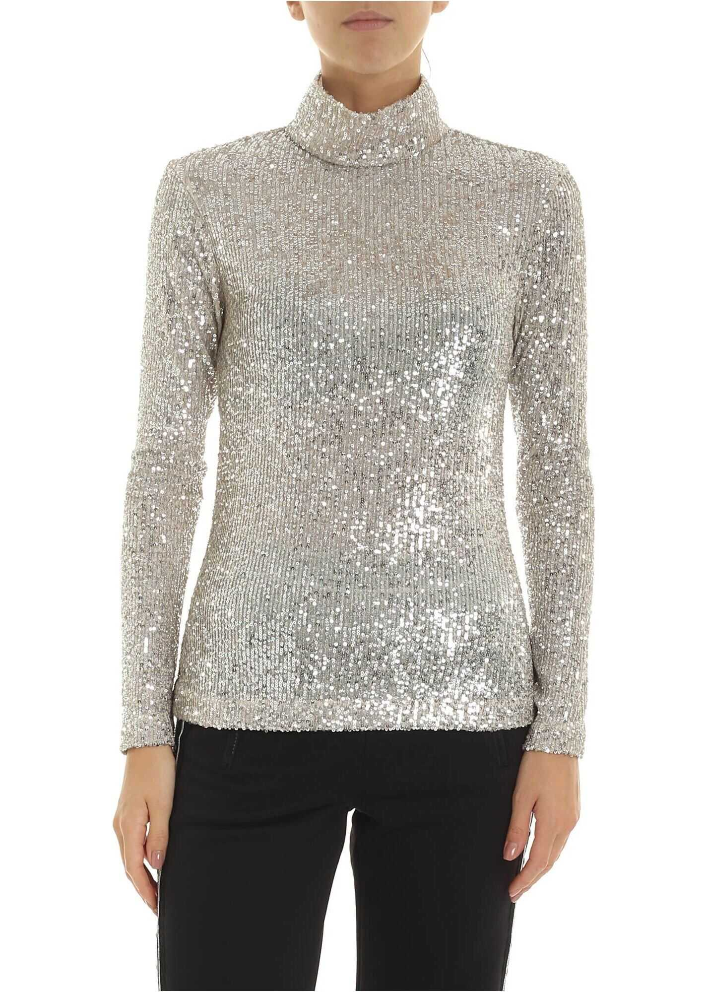 Turtleneck Sweater In Silver Sequins thumbnail