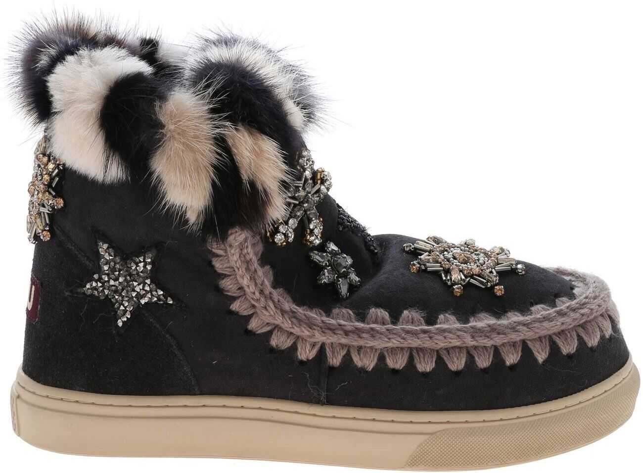 Mou Eskimo Star Patches And Mink Fur Sneakers In Grey MU.FW111006A OFFB Grey imagine b-mall.ro