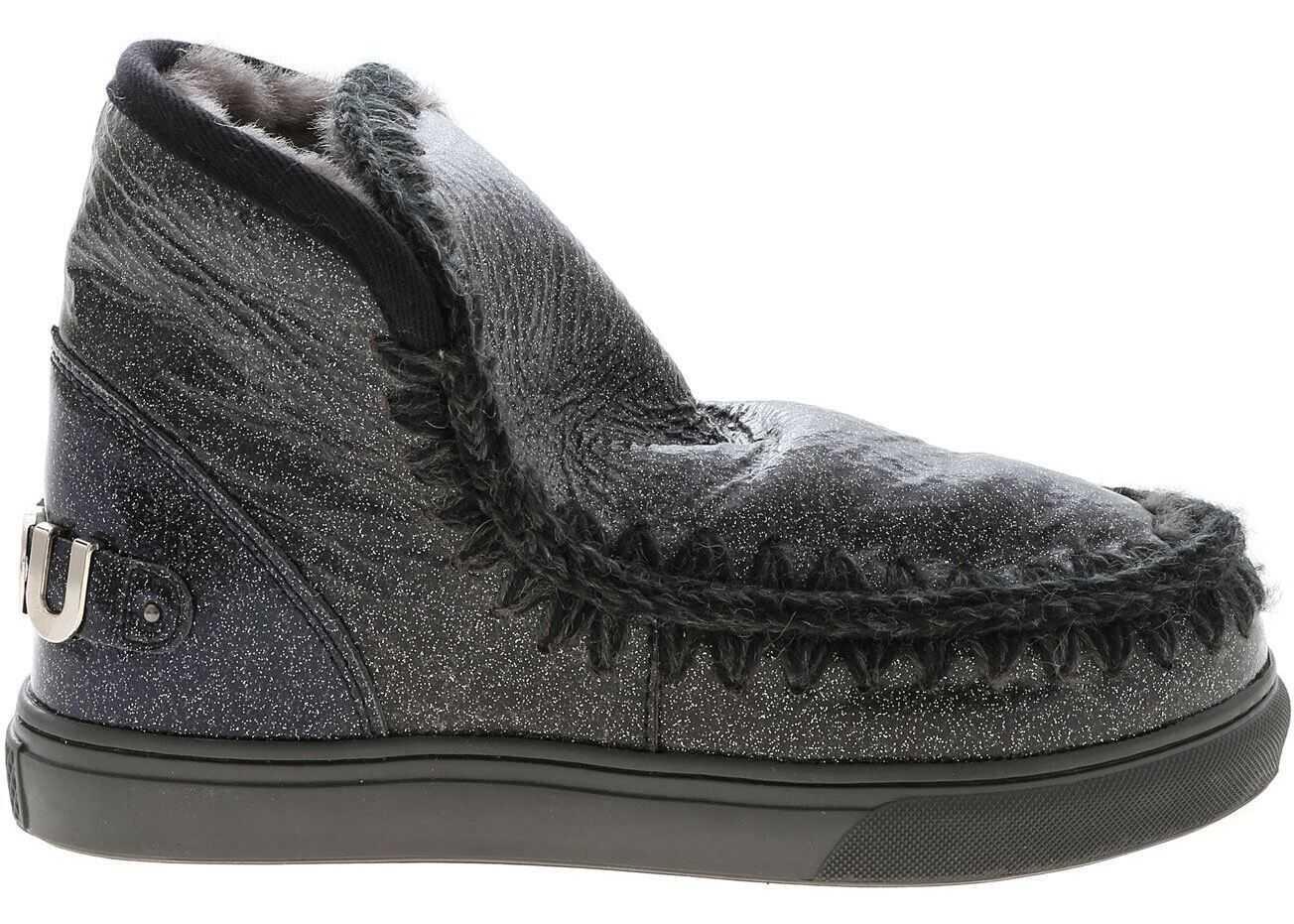 Mou Eskimo Sneakers In Glittery Black MU.FW111008C 3DCHA Grey imagine b-mall.ro