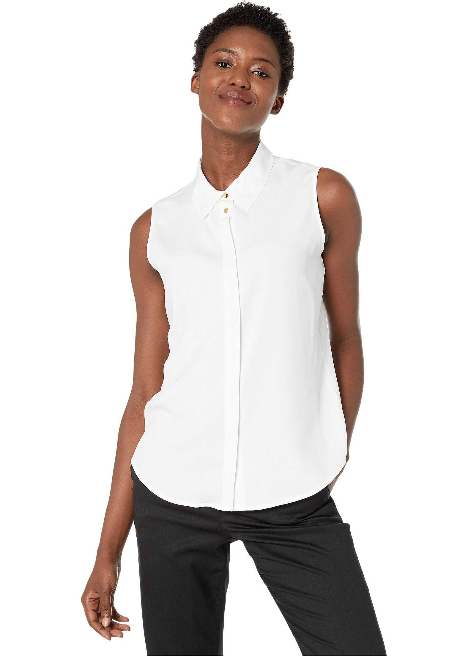 Calvin Klein Sleeveless Button-Down Woven White