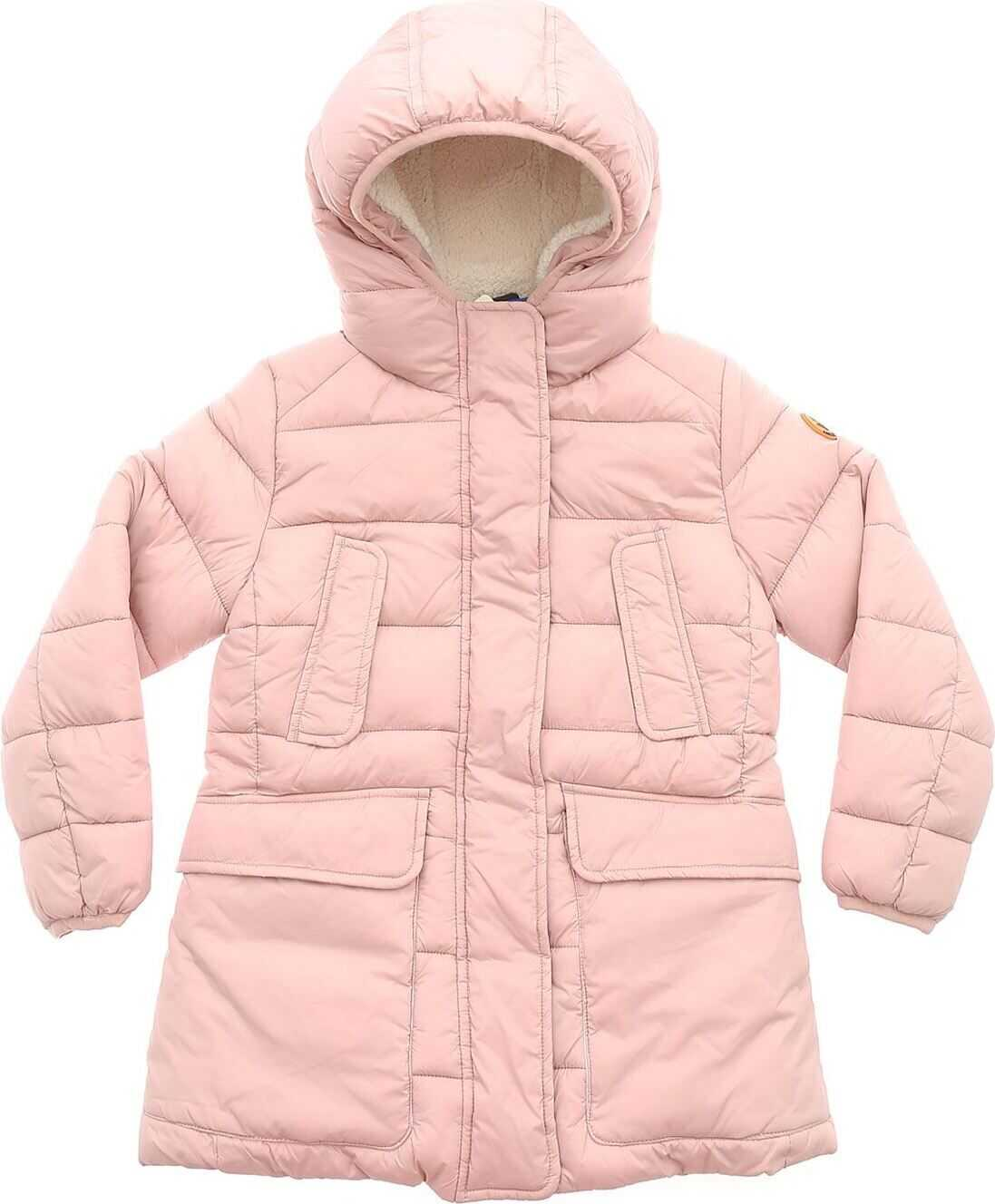Hooded Long Down Jacket In Pink thumbnail