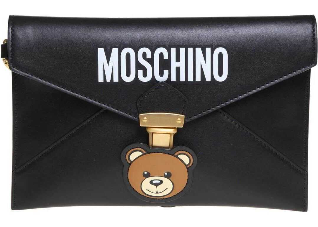 Moschino Teddy Pocket Clutch In Black Leather Black