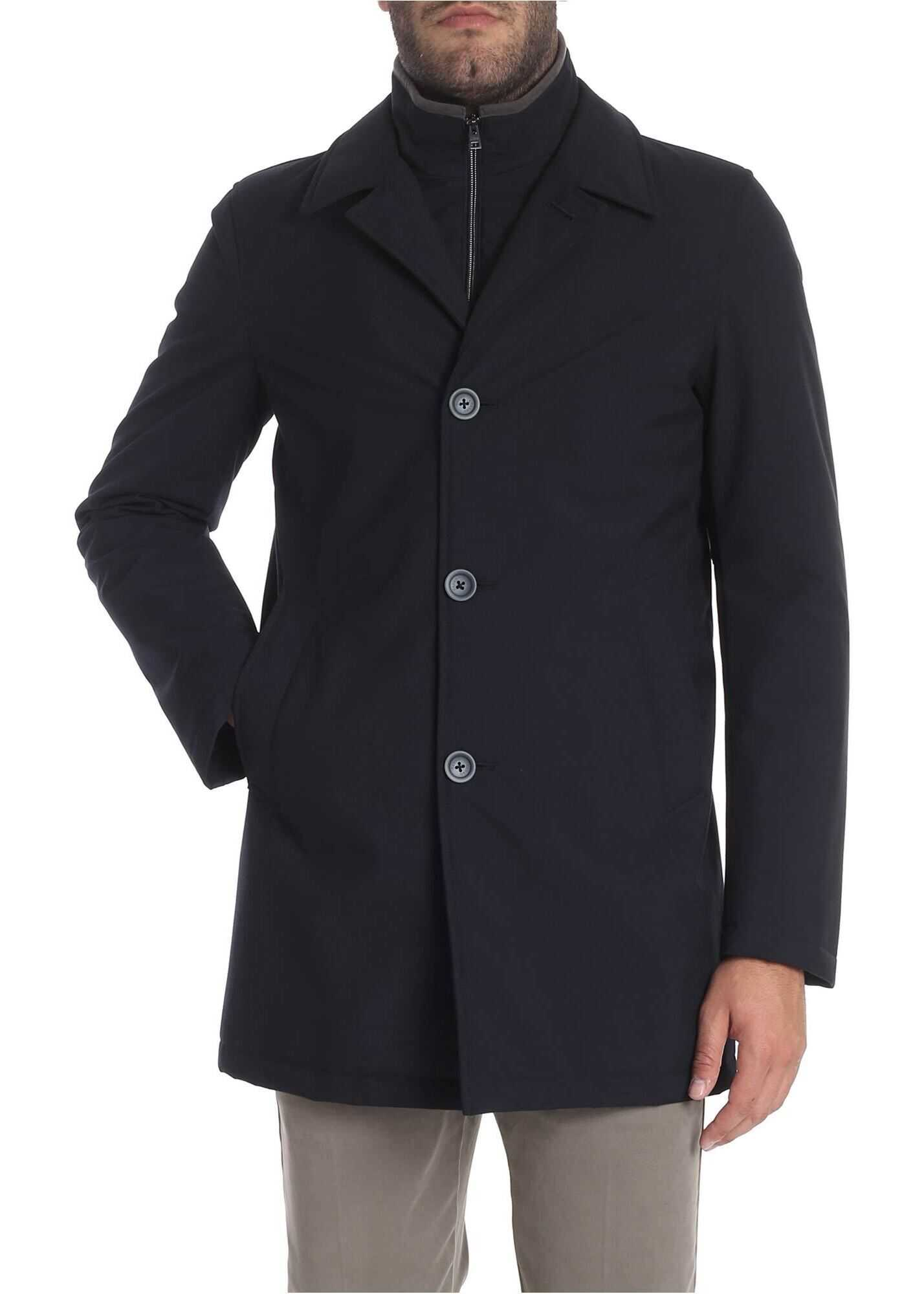 Herno Blue Coat With Shirt Collar Blue