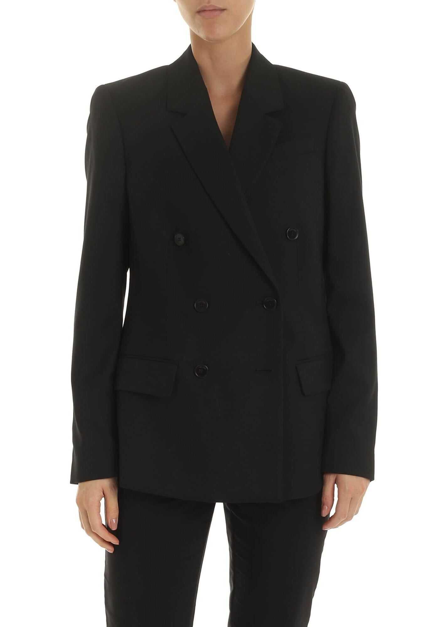 Calvin Klein Double-Breasted Jacket In Black Wool Twill Black