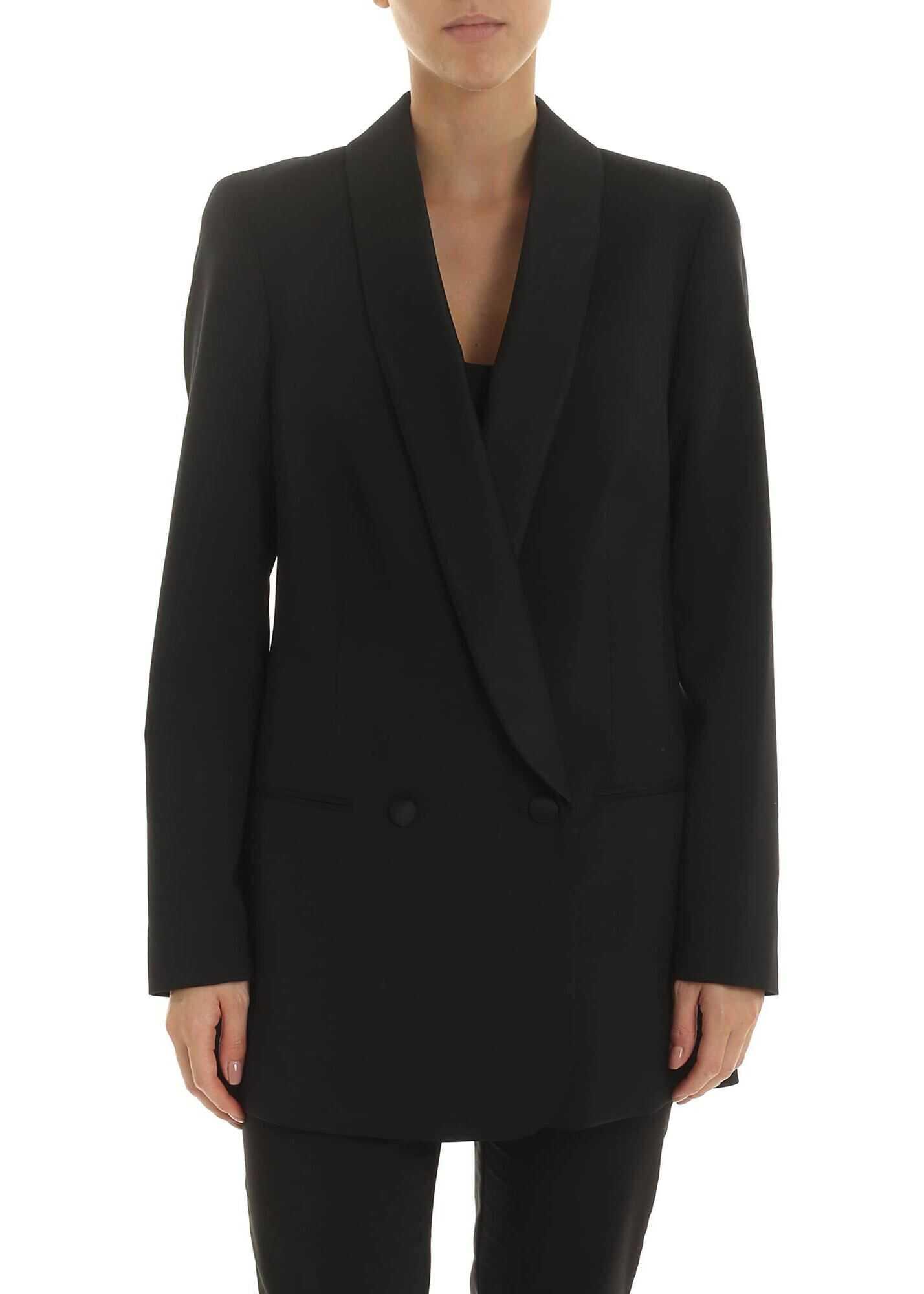 Calvin Klein Stretch Virgin Wool Blazer In Black Black