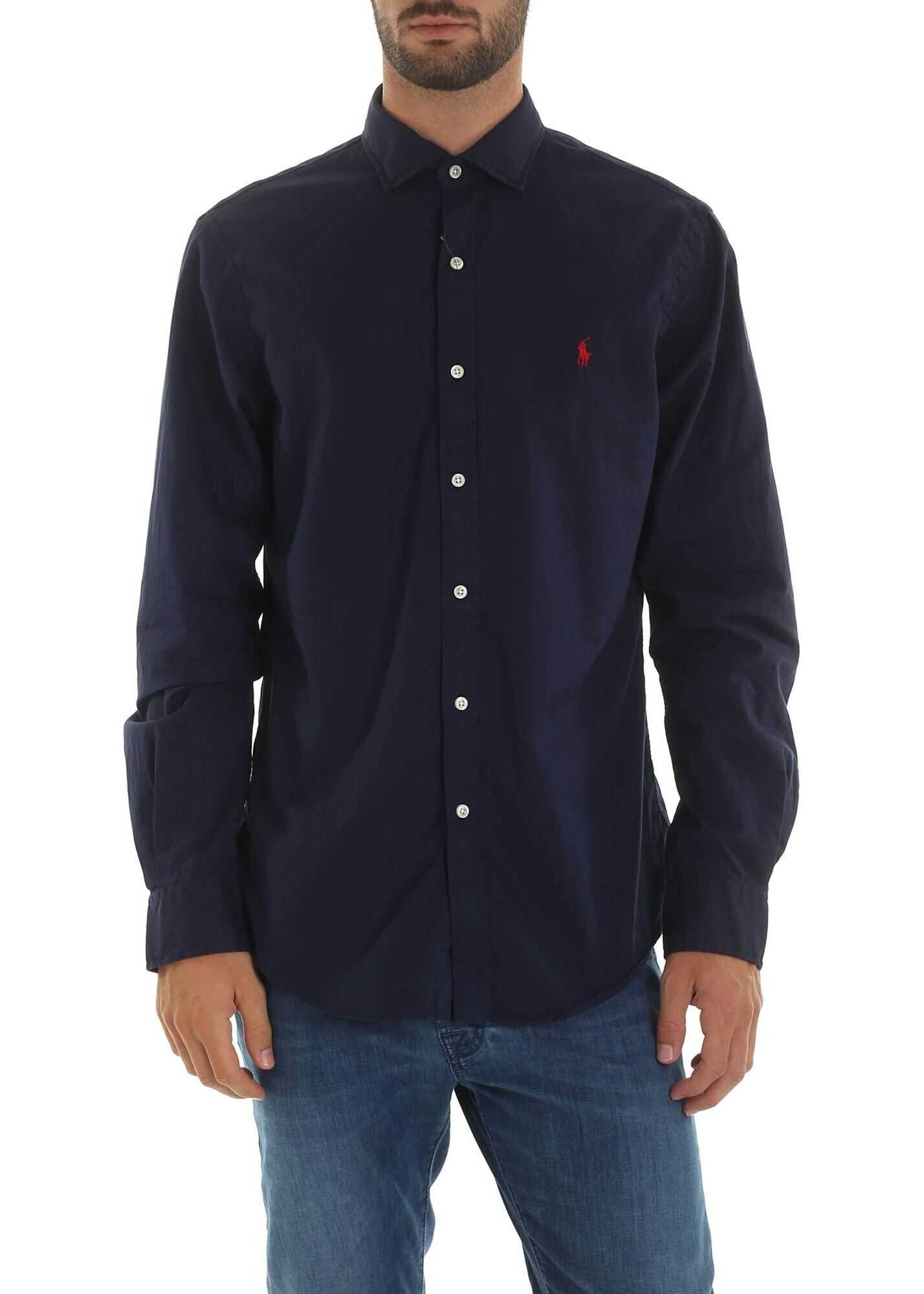 Blue Shirt With Logo Embroidery thumbnail