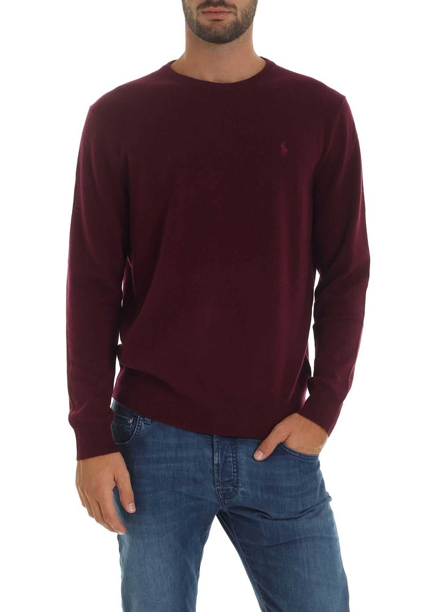Wine-Colored Pullover With Logo Embroidery thumbnail