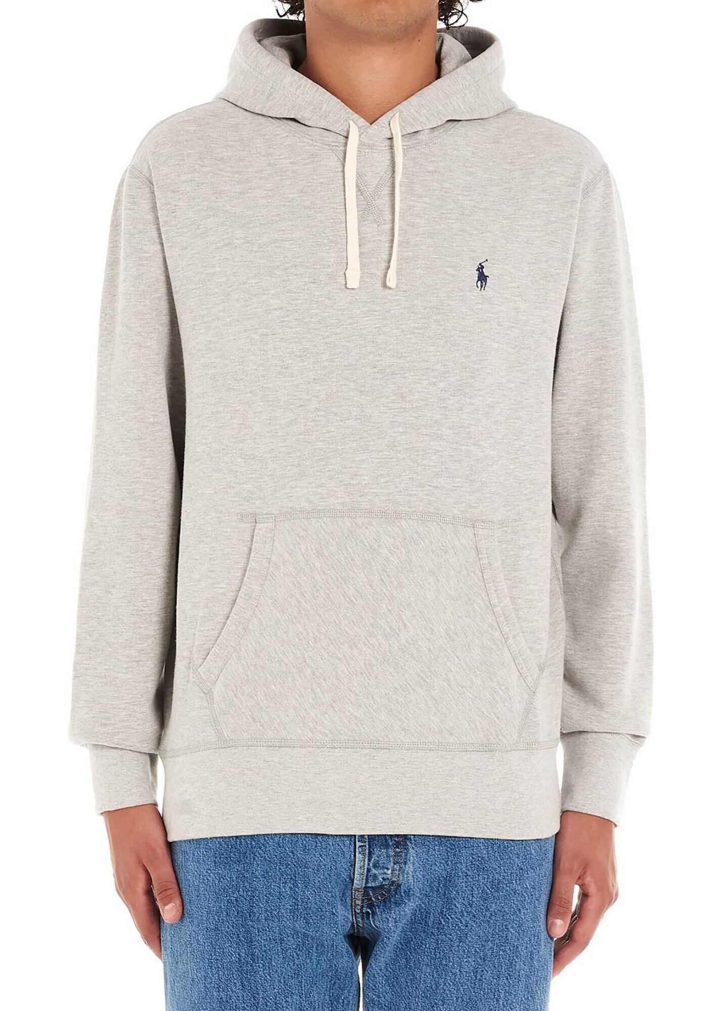 Ralph Lauren Light Grey Sweatshirt With Logo Embroidery Grey imagine