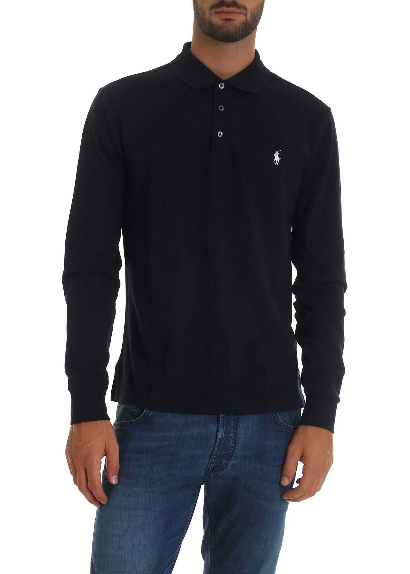 Blue Polo Shirt With Logo Embroidery thumbnail