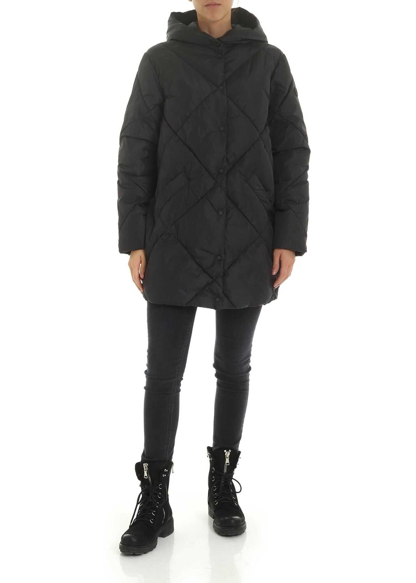 Save the Duck Quilted Effect Down Jacket In Anthracite Gray Grey