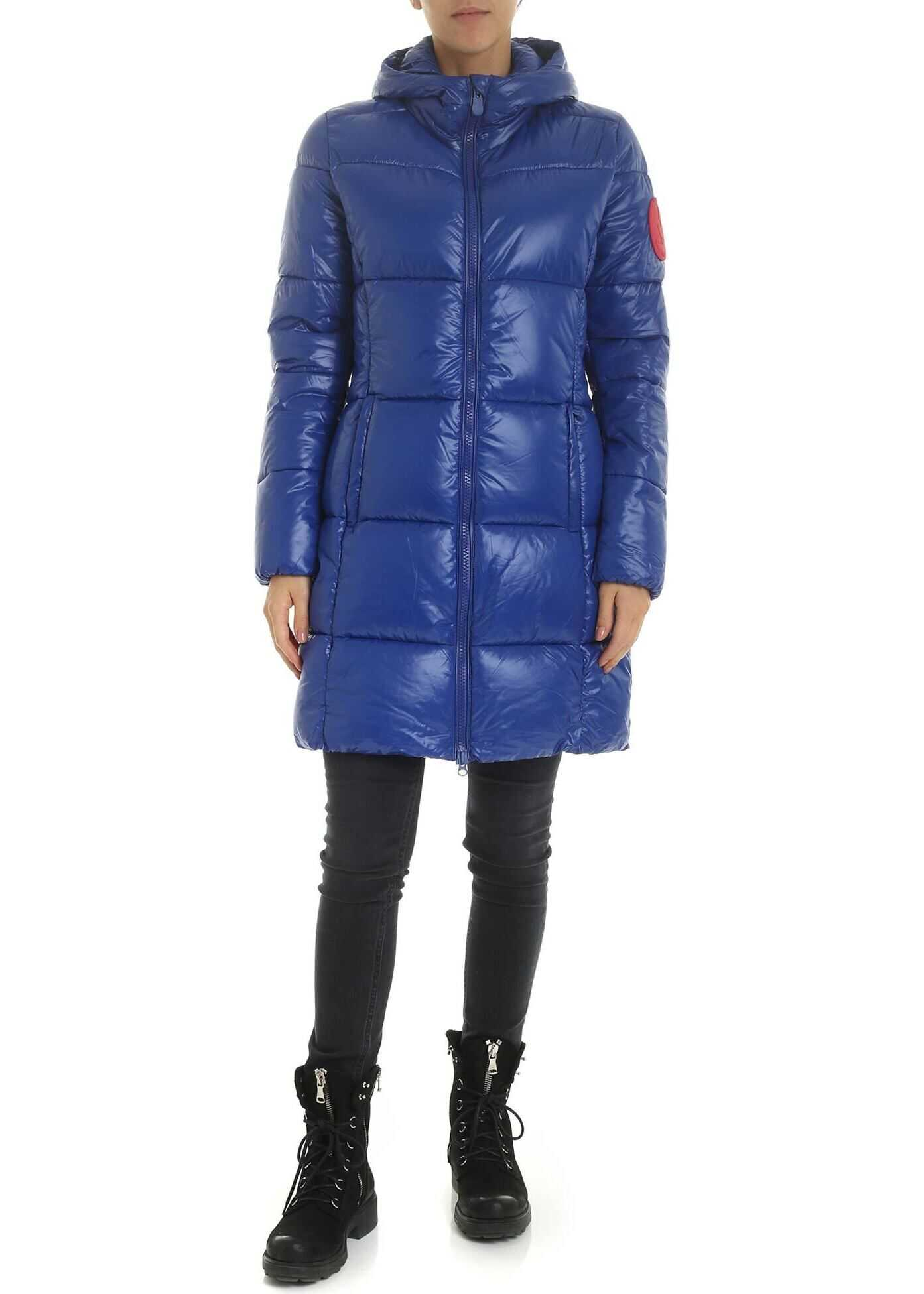Save the Duck Down Jacket In Electric Blue With Logo Patch Blue