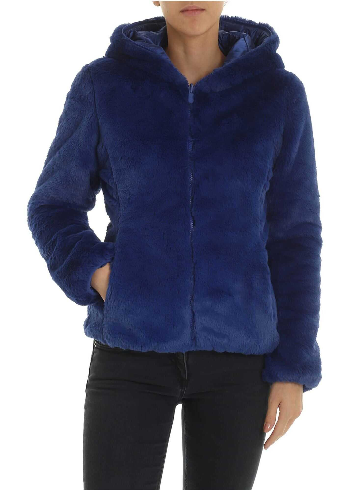 Padded Eco-Fur In Electric Blue thumbnail