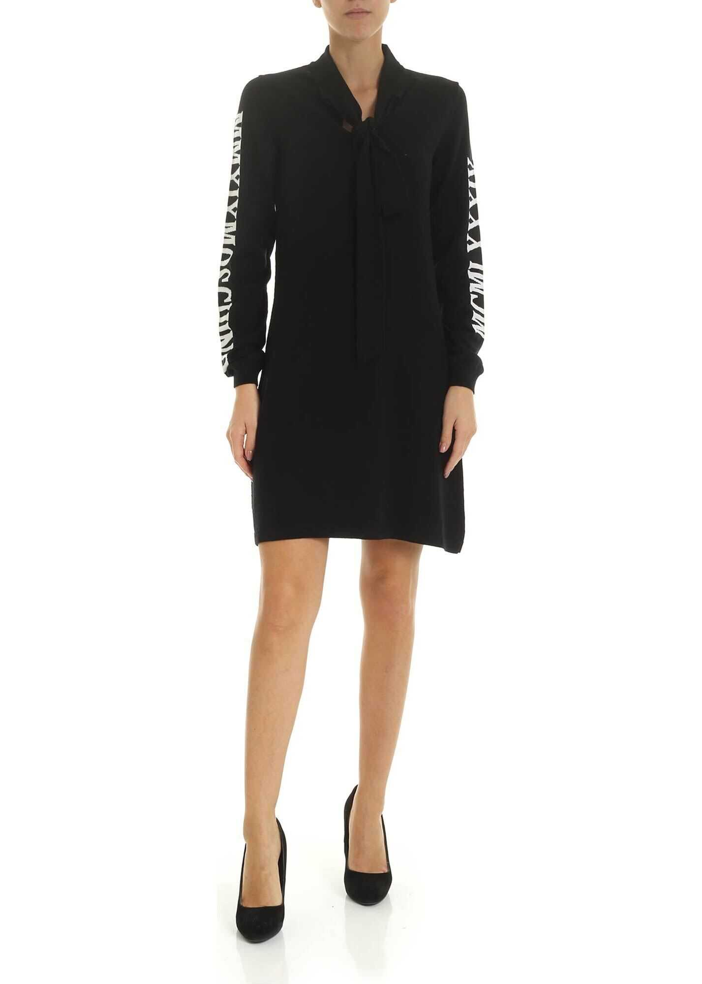 Moschino Moschino Milano Embroidery Dress In Black Black