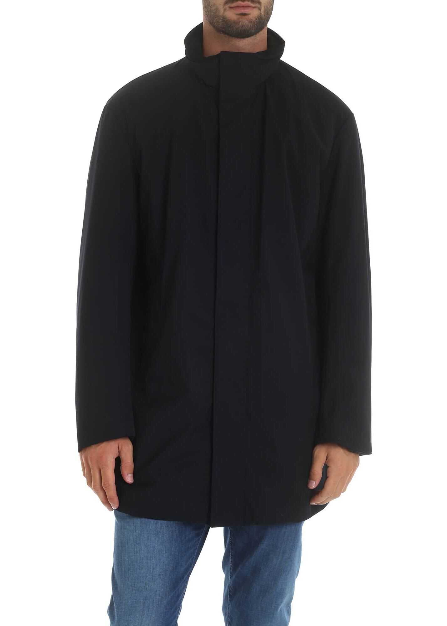 Emporio Armani Dark Blue Coat With Drawstring At The Waist Blue