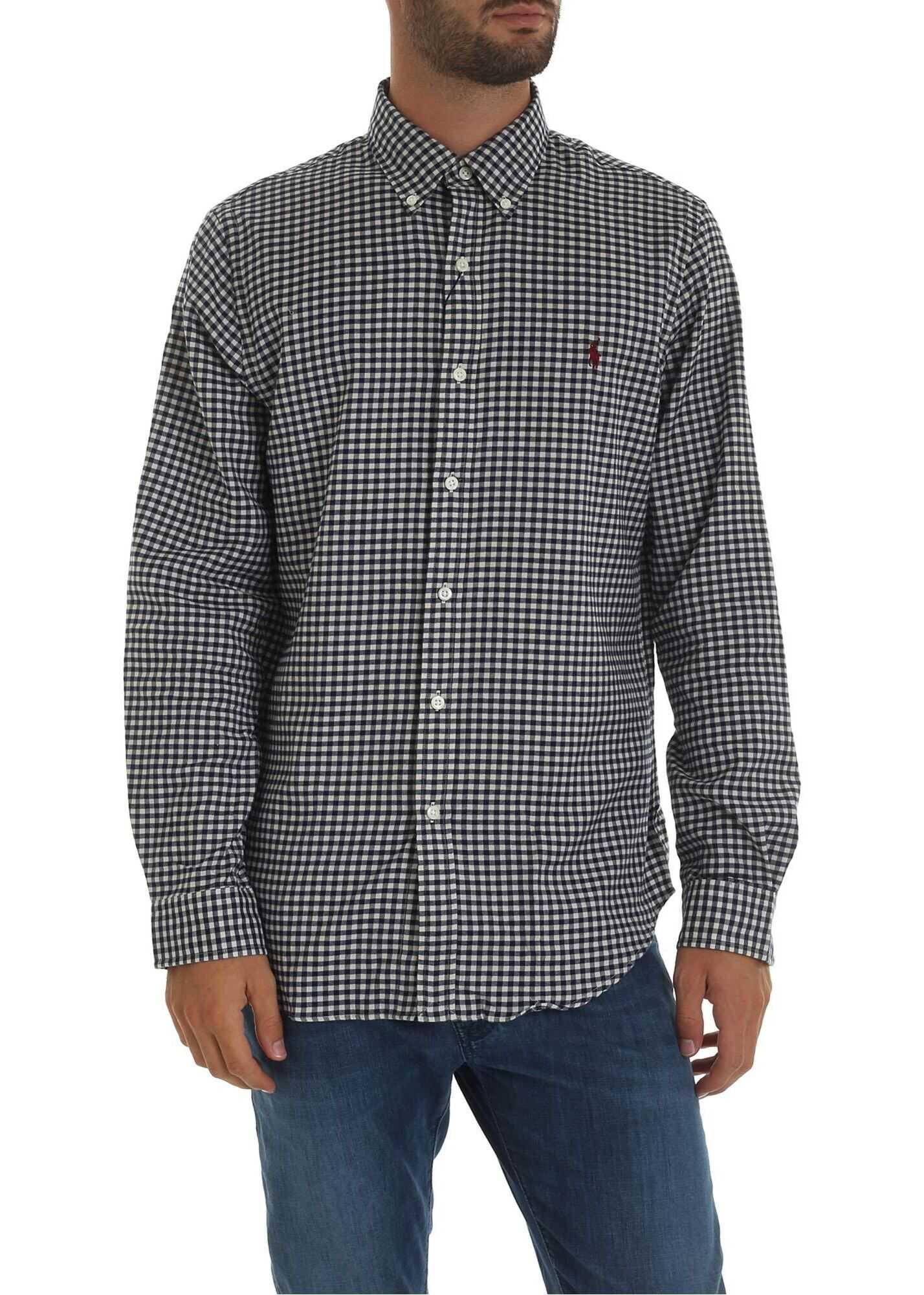 White Shirt With Blue Checkered Pattern thumbnail