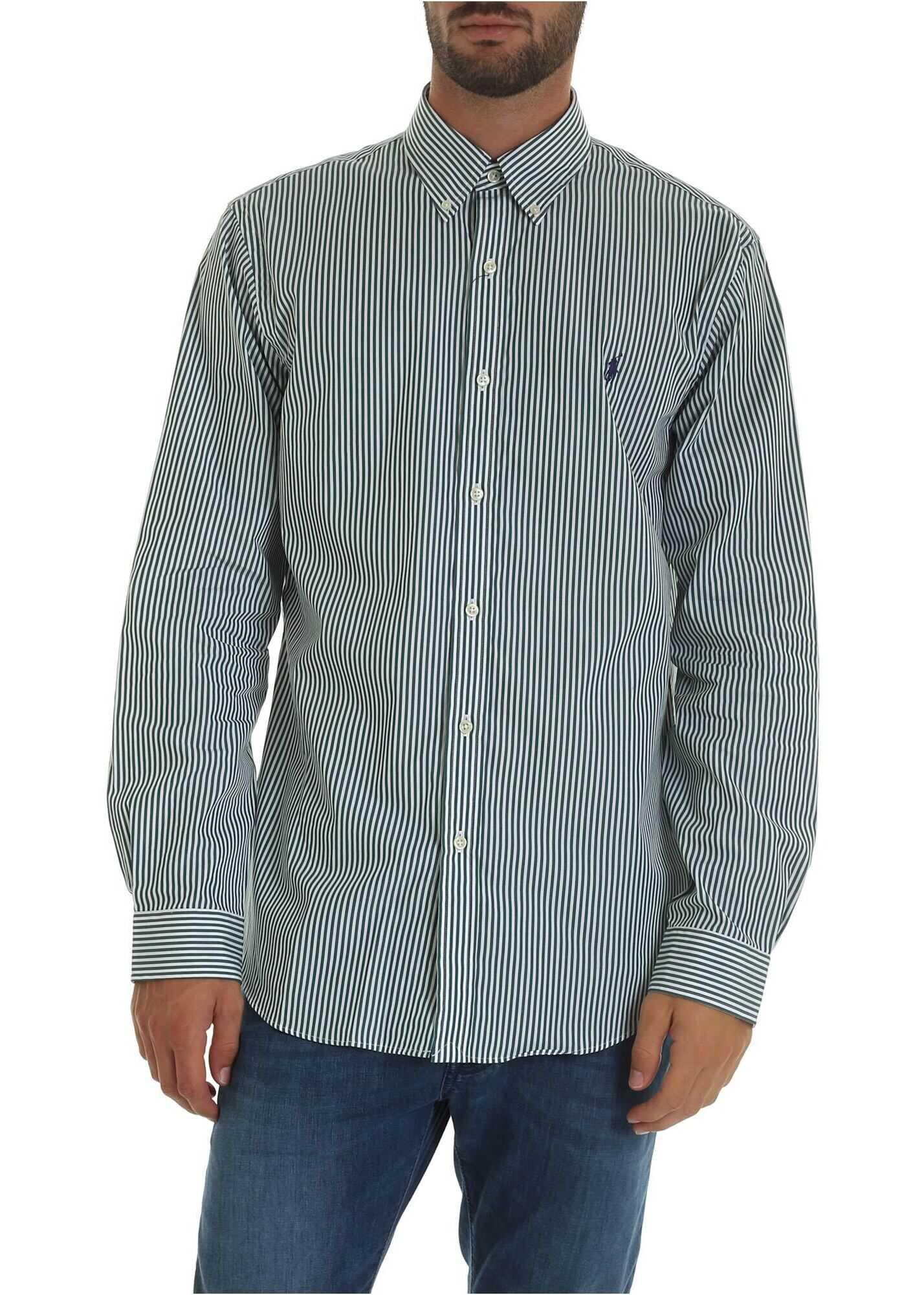 Ralph Lauren White Shirt With Green Stripes Green imagine