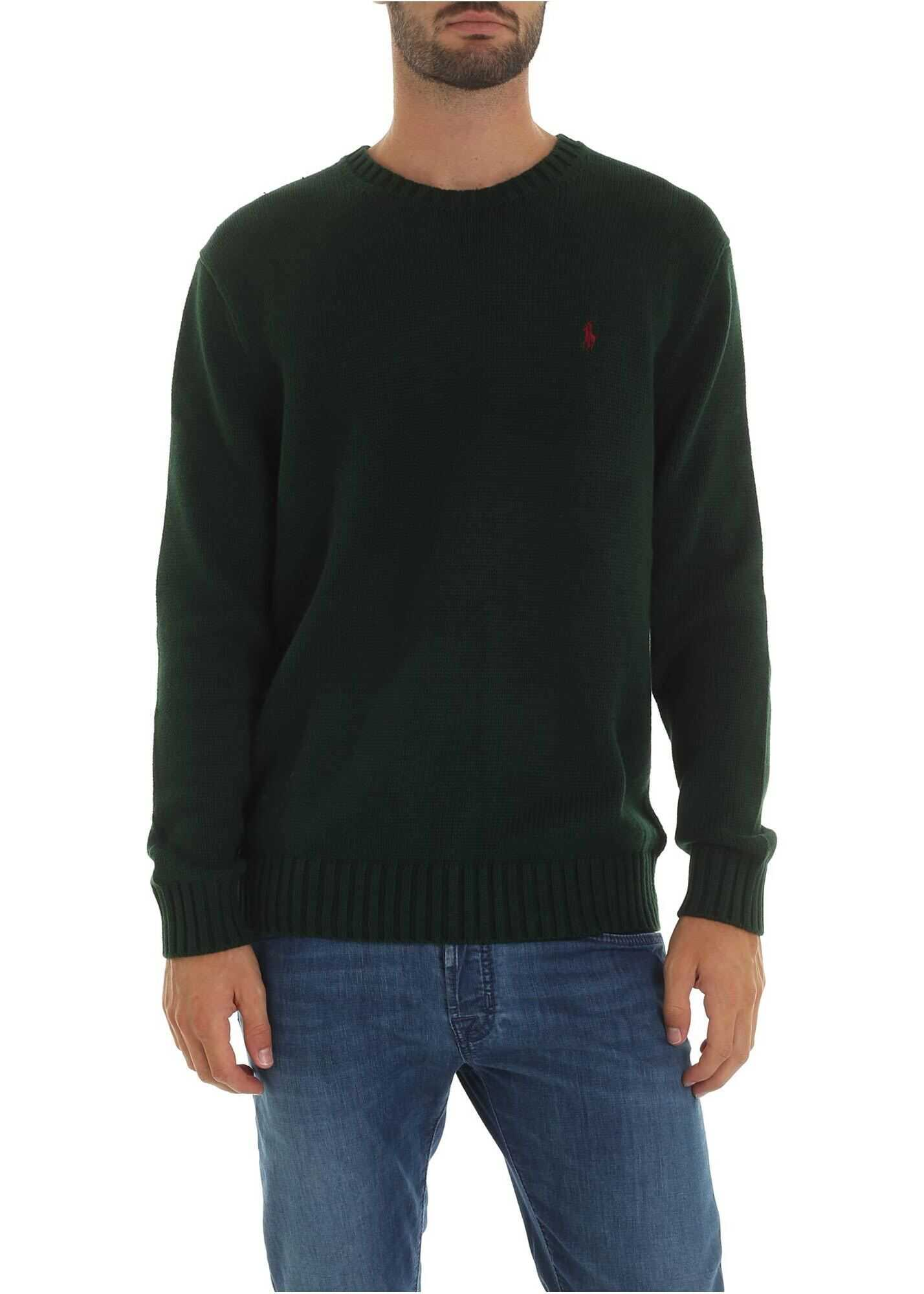 Dark Green Pullover With Logo Embroidery thumbnail