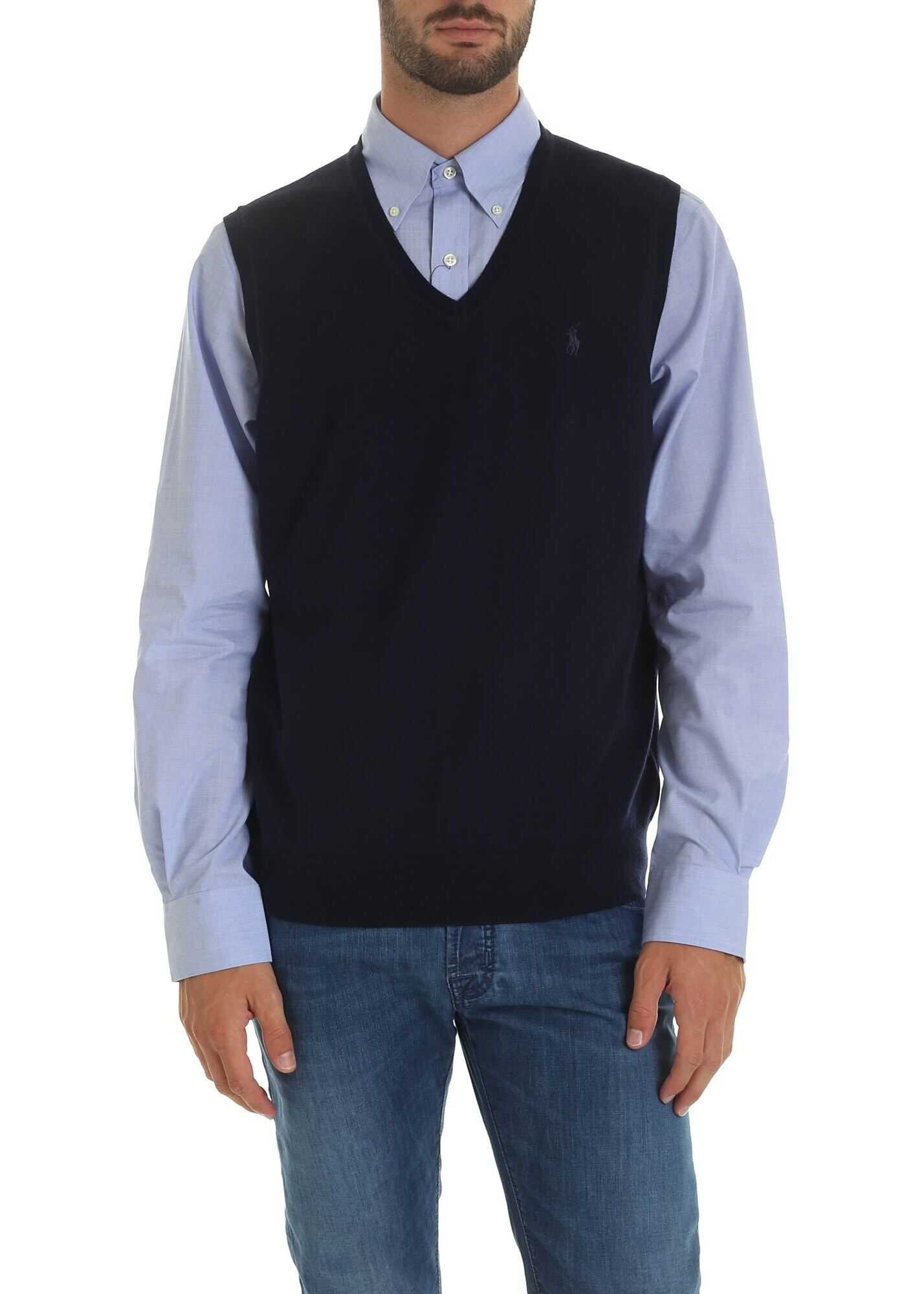 Ralph Lauren Blue Sleeveless Pullover With Logo Blue imagine