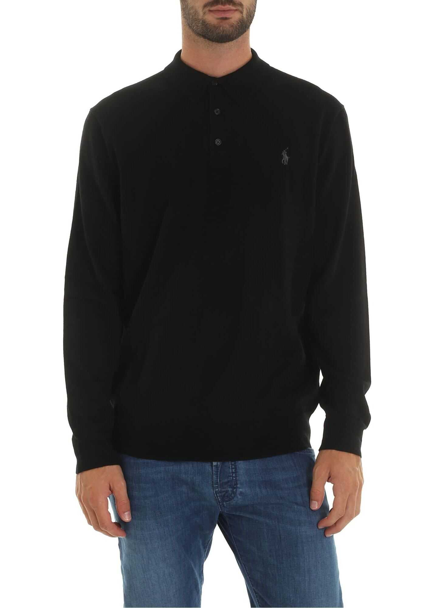Black Polo Shirt With Logo Embroidery