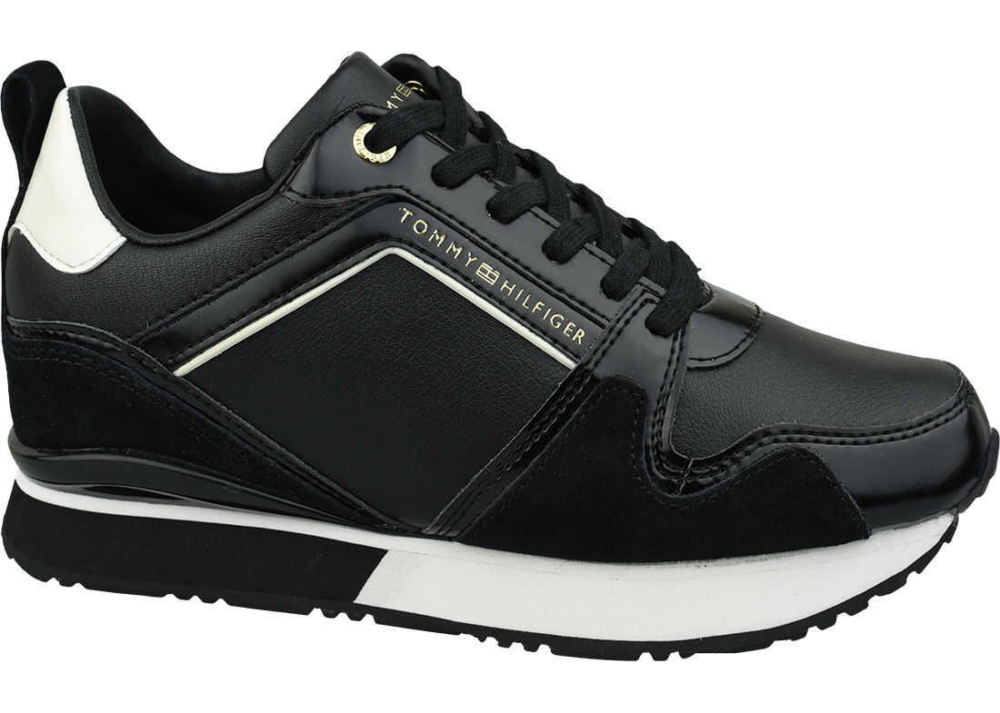 Tommy Hilfiger Leather Wedge Sneaker Black