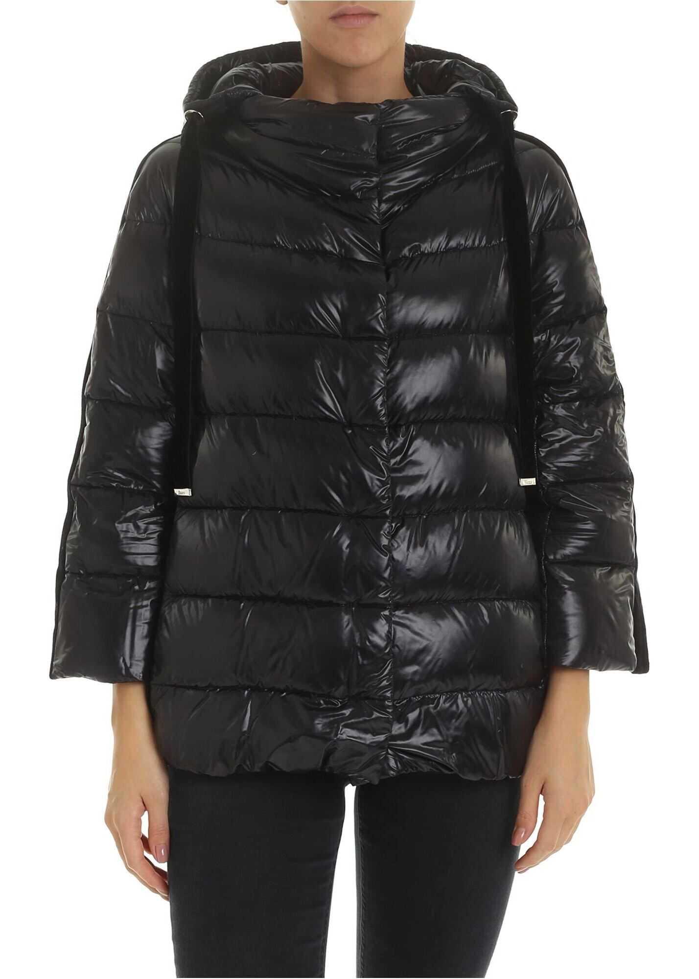 Herno Down Jacket In Black With Velvet Edges Black