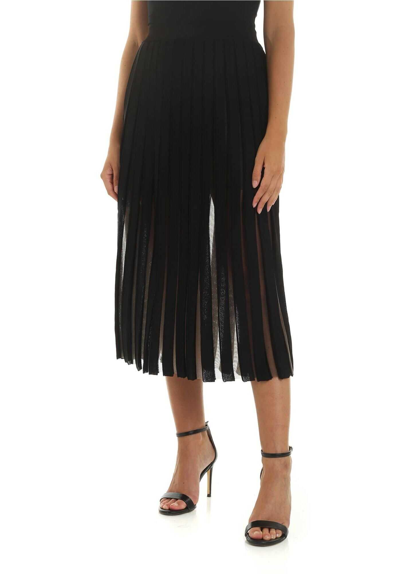 Balmain Black And Transparent Pleated Skirt Black