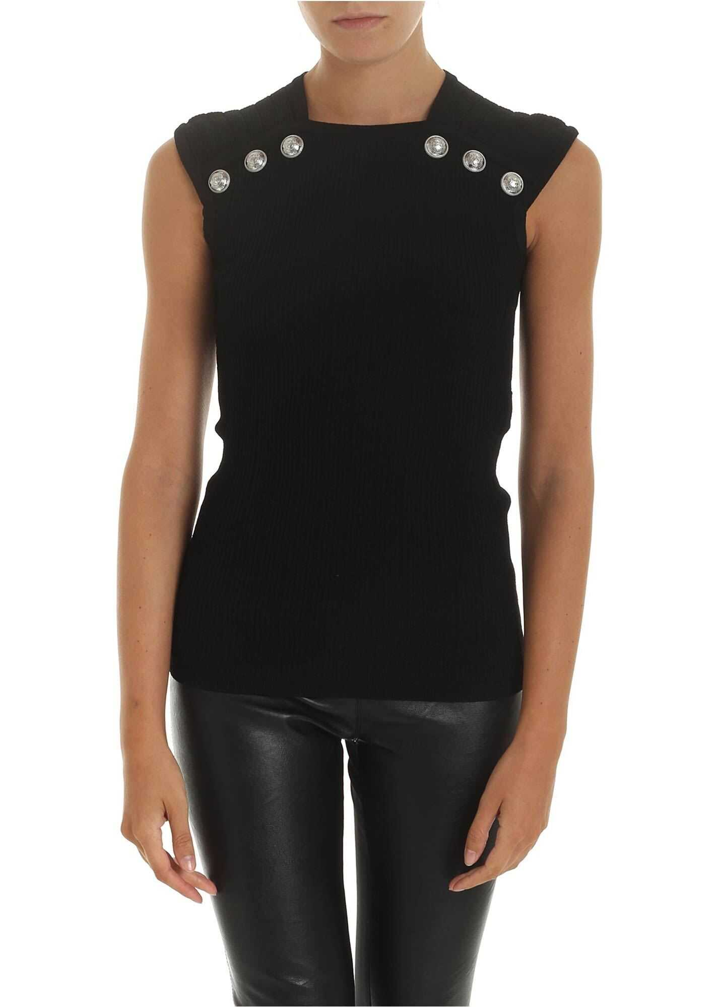 Black Top With Silver Metal Buttons thumbnail