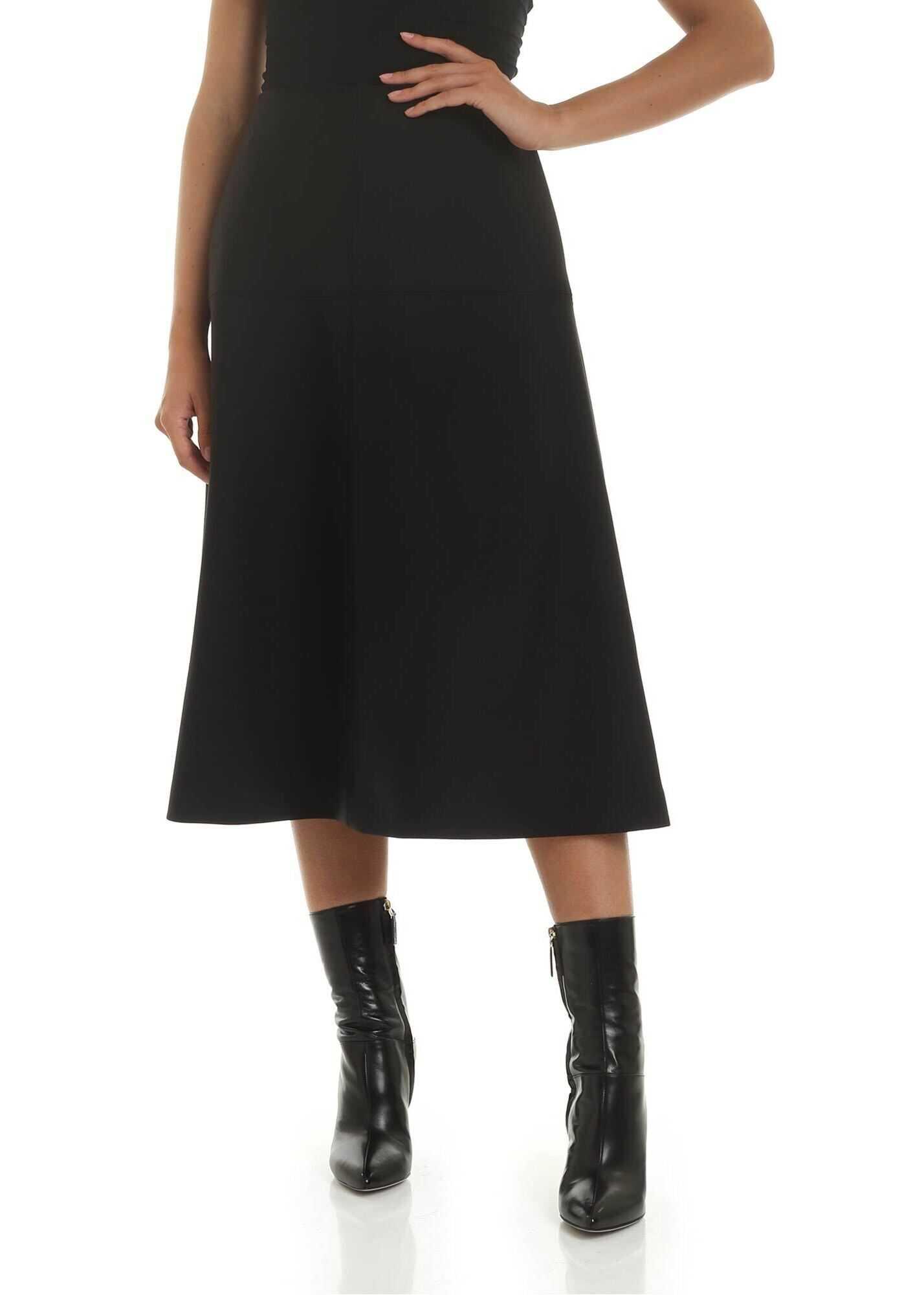 adidas by Stella McCartney Black Flared Midi Skirt Black