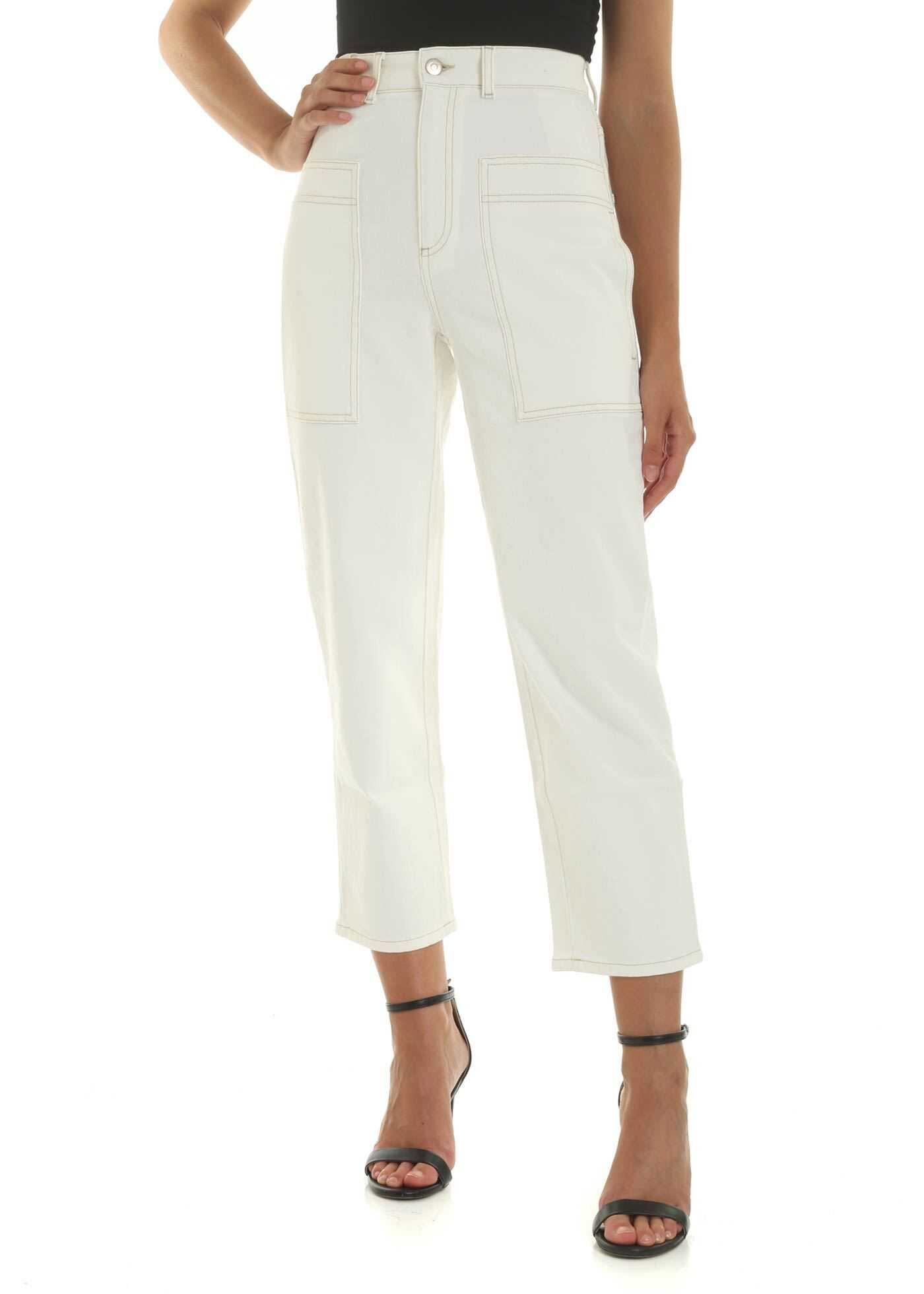 Cream-Colored Jeans With Contrast Stitching thumbnail