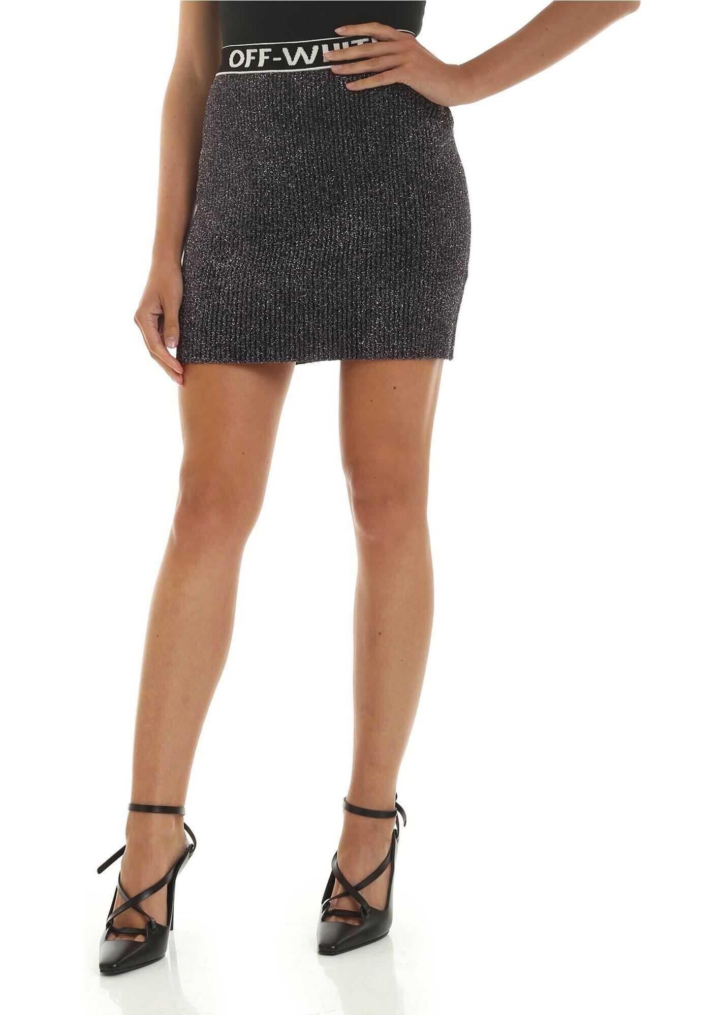 Off-White Black Lamè Mini Skirt Black
